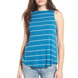 BP Blue and White Striped Ribbed High Neck Tank Sm